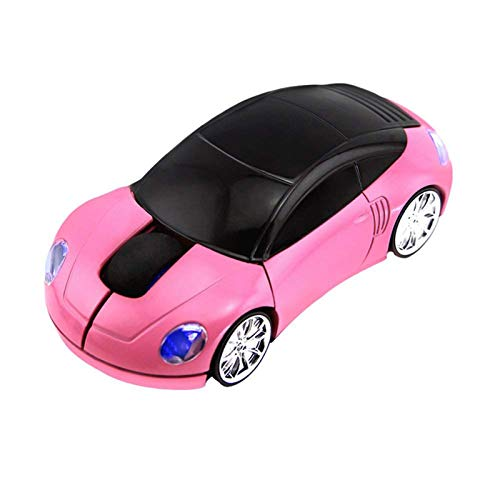 CHUYI 2.4GHz 3D Car Shape Wireless Optical Mouse Office Mouse USB Office Mouse with Receiver for PC Laptop (Pink)