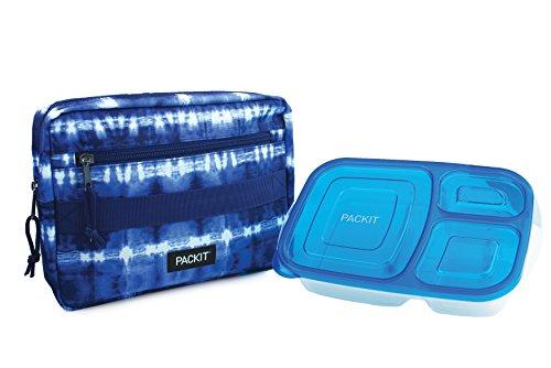 PackIt Conjunto Bento Box Congelável: Manga Congelável e Recipiente Bento Box Reutilizável, Tie Dye