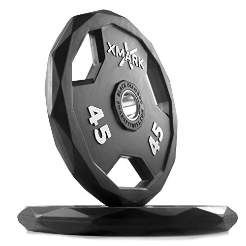XMark Black Diamond 45 lb Olympic Weight Plates, Patented Design, One Pair