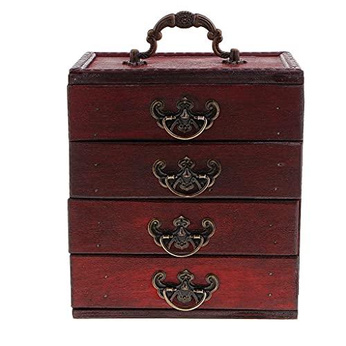 GANFANREN Caja de Almacenamiento de joyería Antigua de 4 Capas Caja Pendientes Collar Almacenamiento Cofre del Tesoro Artesanía de Madera