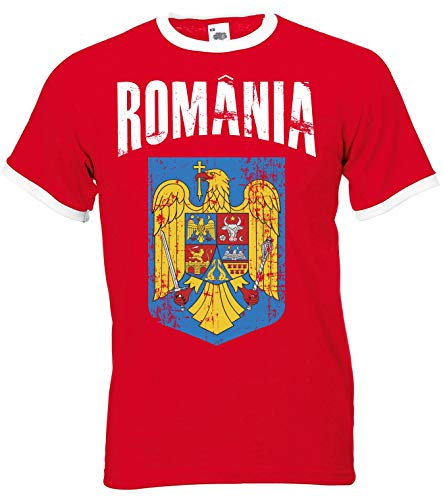 Aprom Rumänien Ringer Herren T-Shirt Trikot Fußball WM 2018 T-Shirt - S M L XL XXL -Rot D01 (M)