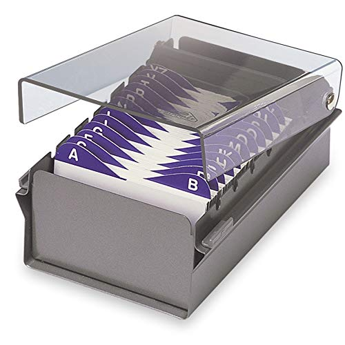 Acrimet Index Business Card Size File Holder Organizer Metal Base Heavy Duty (AZ Index Cards and Divider Included) (Gray Color with Clear Crystal Plastic Lid Cover)