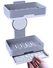 BMK ソープディッシュ 石鹸置き 吸盤 スポンジ置き 速乾 2層排水デザイン 工具不要 縦横設置機能 防カビ キッチン 浴室 洗面所 収納 ソープホルダー 水切り (3年保証)