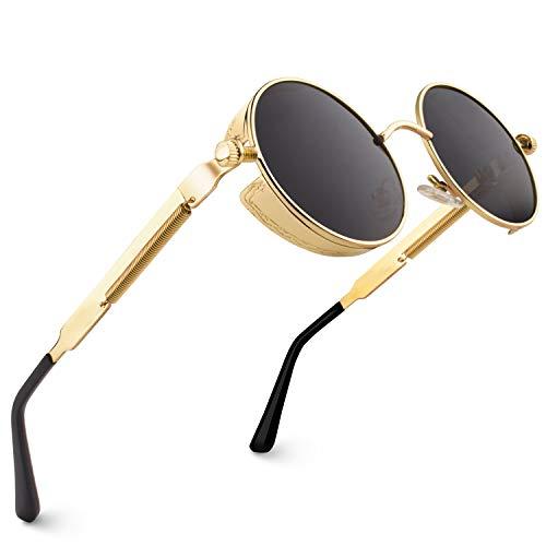 CGID Retro Sonnenbrille im Steampunk Stil runde Metallrahmen Polarisiert Brille Herren Damen Gold Rahmen Graue Gläser, CAT3, CE, E72