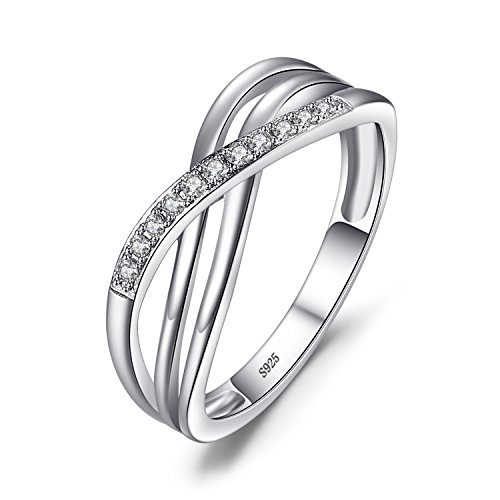 JewelryPalace Infinity X Forever Love Knot Promise Ring for her, White Gold Plated 925 Sterling Silver Rings for Women, Anniversary CZ Simulated Diamond Ring, Girls Womens Jewellery Gifts