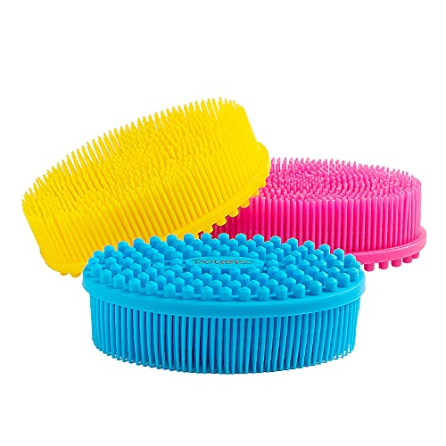 DOUBRO Silicone Body Scrubber Easy to Clean, Lathers Well, Eco Friendly, Long Lasting, And More Hygienic Than Traditional Loofah For Shower Brush Dry Skin Circulation SPA,Travel. (3Pack)