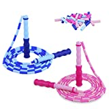 Jump Rope Kids Beaded Jump Rope, 2 Pack with 32 Spare Beads, Soft Segment, Adjustable Length, Tangle...