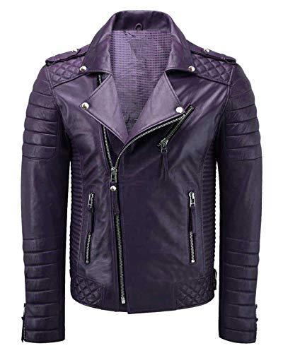 III-Fashions Mens Purple Quilted Vintage Brando Motorcycle Genuine Lambskin Biker Leather Jacket, Medium