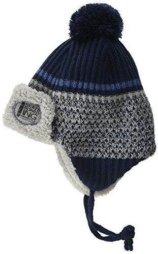 maximo Baby-Jungen Inkaform mit Aufschlag und Pompon und Bindeband Mütze, Blau (Navy 48), (Herstellergröße: 49/51)