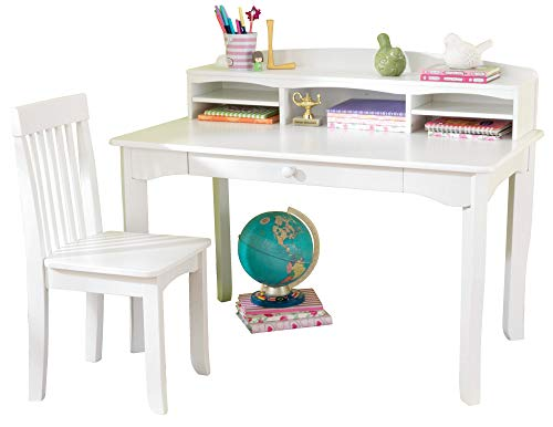KidKraft Avalon Wooden Children's Desk with Hutch, Chair and Storage, White ,Gift for Ages 5-10