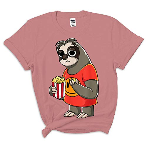Sloth National Popcorn Day Shirt - Front Print T-Shirt for Men and Women