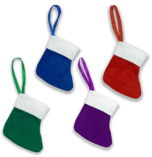 GoodsAndMore 10 Pack Mini Christmas Stockings, Red, Green, Blue, Purple Felt for Silverware, Flatware, Gift Cards, Crafts, Candy Bags & Stuffers, Ornament Tree Decorations