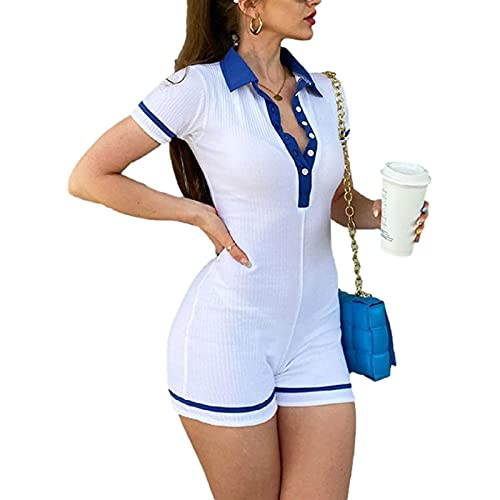 Chándal de mujer de manga corta, color block, con solapa y cuello en V, sin mangas, camisa, murciélago, cintura alta, chándal, pantalones cortos, body con botón ajustado, turquesa, XL