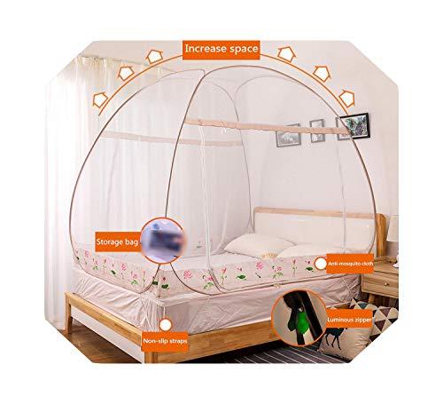 Eileen Ford Multi-Style Yurt Klamboe Luifel Installatie-vrij Huishouden Tweepersoonsbed Tent 1.2m Opklapbaar Klamboe Draagbaar Camping-hehua-Coffee-1.2m (4 Feet) Bed