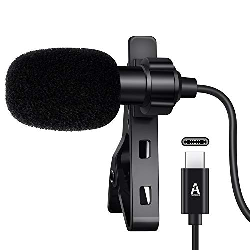 USB C Lavalier Lapel Microphone for Android System, Omnidirectional Condenser Type C Microphone Audio Video Recording, Easy Clip on Microphone Compatible with Type C Interface Device for YouTube, etc