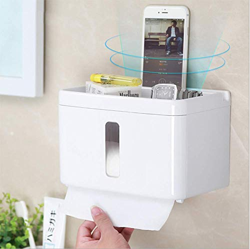 STTC Toilettenpapierhalter ohne Bohren, Wandhalterung, Selbstklebend, Mit wasserdichter und staubdichter Abdeckung+Aufbewahrungsbox für Badezimmer Toilette und Küche, Weiß
