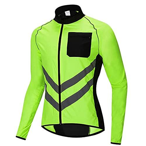 YLJXXY Cortavientos Ciclismo Hombre Impermeable Chaqueta Running Ropa Ciclismo Reflectante Respirable para Deportes al Aire Libre