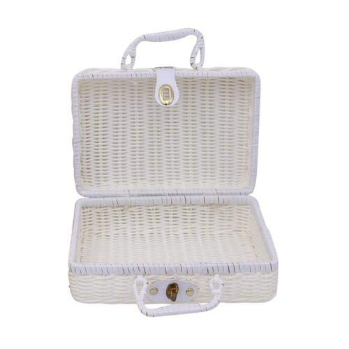XKMY Storage Basket Vintage Portable Handmade Rattan Woven Storage Case Makeup Travel Picnic Luggage Basket Holder Suitcase Sundries Organizer Box (Color : Beige L)