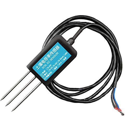 Xiaoyao24 Sensor de sal del suelo Temperatura del suelo/Humedad/Conductividad Detector RS485 Probador de humedad del suelo para césped de plantas
