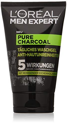 L'Oréal Men Expert Pure Charcoal - Gel de lavado, contra las impurezas de la piel de los hombres (grano, espinillas, piel grasa), 100 ml, 1 unidad