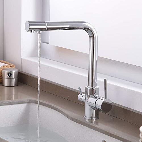 Grifo Grifo de cocina purificador con agua filtrada Grifo de agua potable de doble manija, grifo mezclador frío y caliente de cobre negro