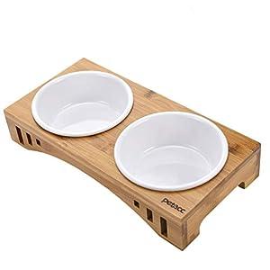 petacc Katzennäpf Hundenäpf, Futterschüssel Katze Hunde und Hoch Trinknapf, rutschfest von Bambus Ständer Futternäpfe… 3