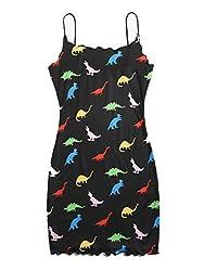 6. SOLY HUX Women's Spaghetti Strap Rib-Knit Dinosaur Dress