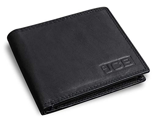 Genuine Black Leather Men's Wallet Built-in RFID NFC Blocking Technology JCB Designer Wallets with Contactless Card Protection Soft Stylish Bifold Design with Zipper Coin Pocket Pouch