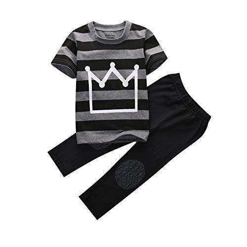 Conjunto de roupas infantis para meninos e meninas, estampa de coroa, listrada + calça comprida para verão
