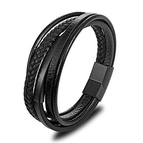 LDYQ Pulsera de Cuero Premium para Hombre en Negro,Pulsera Hombre Cuero Acero Inoxidable Cierre Magnética,Gran Idea de Regalo,23cm