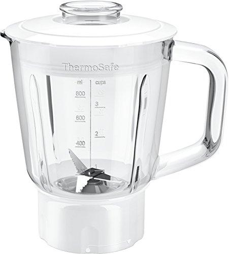 Bosch Hausgeräte MUZ45MX1 ThermoSafe Mixer-Aufsatz (Glas-Behälter, mit Edelstahl-Messer), Silber