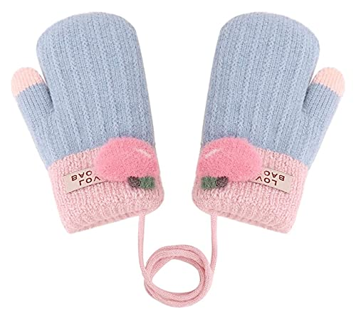 Beapet Guanti Invernali per Bambini Ragazzino Caldo Girl Knit Mitten Fleece Guanti Foderati con Stringa (Color : Sky Blue)