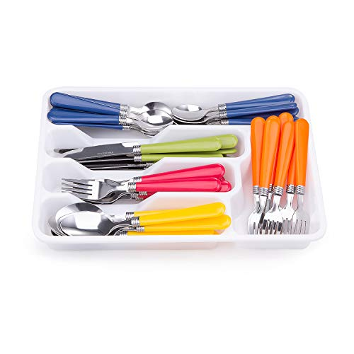 Cutiset 48 pcs Stainless Steel Flatware Silverware set with storage box, Camping Cutlery and Utensil with tray set for 8 (Multicolor)