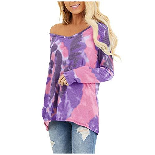 Auifor lange mouwen voor dames, casual gebonden gekleurde ronde hals, uniek-shirts lossen blouses tops op.