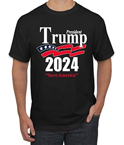 Trump 2024 Shirt Keep America Great T-Shirt Reelect President Donald Trump Mens Womens Non-PC Tee, Black, Small