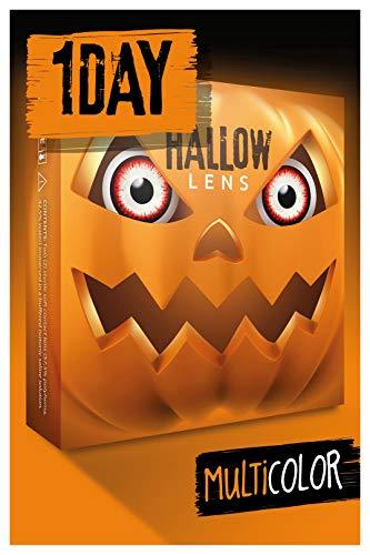 HALLOWLENS Lentes de contacto de Halloween de color, lentilla de motivo, 1 par, un solo uso sin receta, disfrazarse como un UNDEAD ZOMBIE