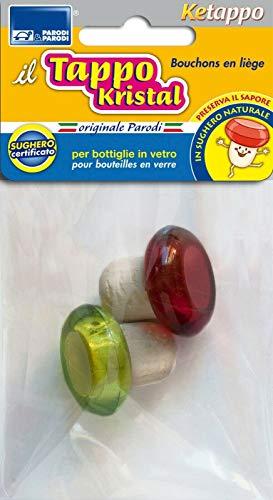 PARODI & PARODI Kit Naturale, Set da 2 Sughero con Testa in plastica Brillante Colorata, Tappi Ideali per Qualsiasi Bottiglia di Vetro, Neutro, Standard