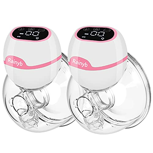 Rainyb Double Wearable Breast Pump , Electric Hands Free Breast Pump Quiet Spill-Proof Strong Suction Power , Can Be Worn in-Bra 3 Modes & 9 Levels with Touch Display Comes with 19/21/24mm Flanges