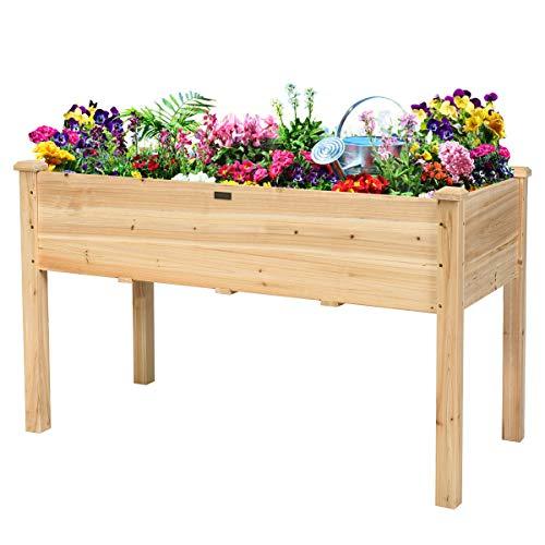 COSTWAY Wooden Raised Garden Bed, Plants Vegetables Flowers Herb Elevated...