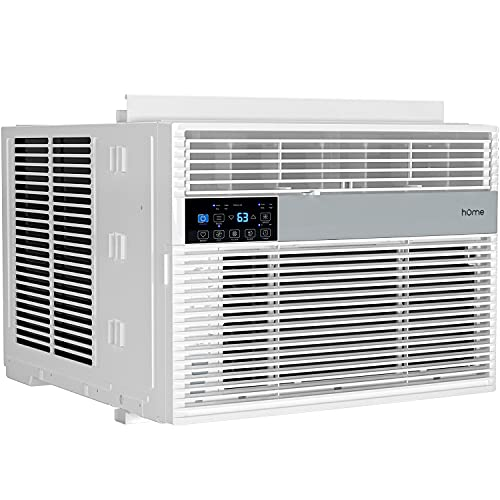 hOmelabs 12,000 BTU Window Air Conditioner with Smart Control – Low Noise AC Unit with Eco Mode, LED Control Panel, Remote Control, and 24 hr Timer