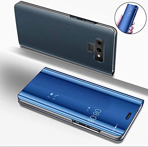 [XCYYOO] Samsung Galaxy Note 9 半透明 鏡 手帳型ケース 手帳型カバー 携帯カバー 携帯ケース スマホケース ケース 手帳 クリスタルケース アイフォンケース 人気 おしゃれ かっこいい-ブルー