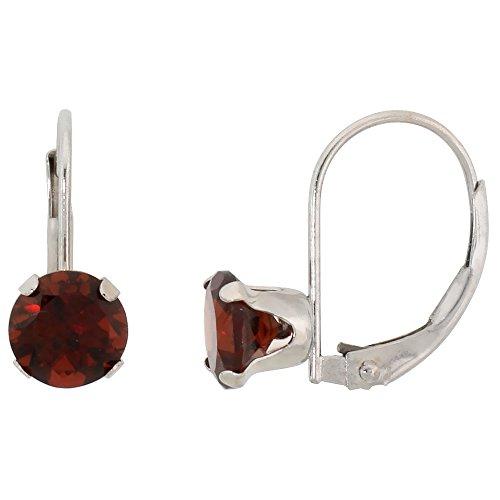 925 Sterling Silver Rhodium-plated 7x5mm Rectangle Garnet January Stone Leverback Dangle Earrings