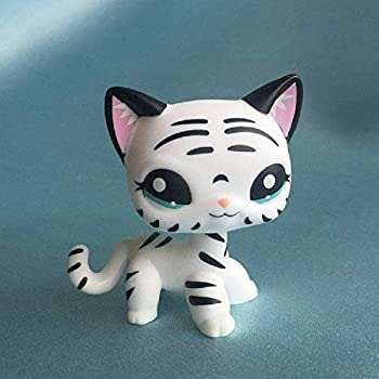 OOAK Small Pet Shop Tiger Cat Kitty White Striped with Aqua Blue Eyes