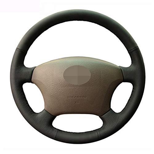SBCX para Toyota Land Cruiser Prado 120, Cubierta de Volante de Coche de Cuero Artificial DIY de Punto Negro