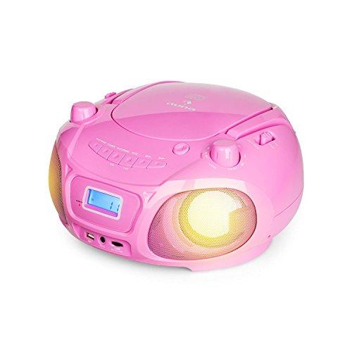 auna Roadie Sing - CD-MP3 Karaoke Player, Stereoanlage, Boombox, Sing-A-Long Funktion, USB-Port, UKW Radio, Bluetooth 3.0, LED-Beleuchtung, Netz- und Batterie-Betrieb, Mikrofon, pink