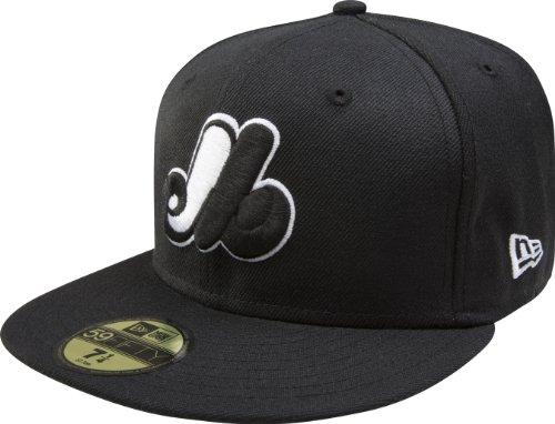 MLB Montreal Expos Cooperstown Black with White 59FIFTY Fitted Cap, 7 5/8