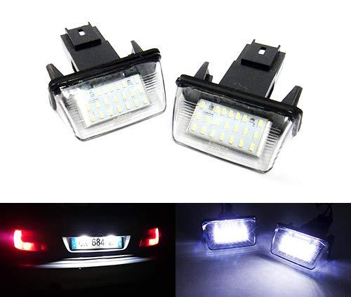 Lot de 2 éclairages LED pour plaque d'immatriculation Blanc Canbus Pour Berlingo C3 C4 C5 Saxo Xsara 206 207 306 307 308 407 5008 Partner