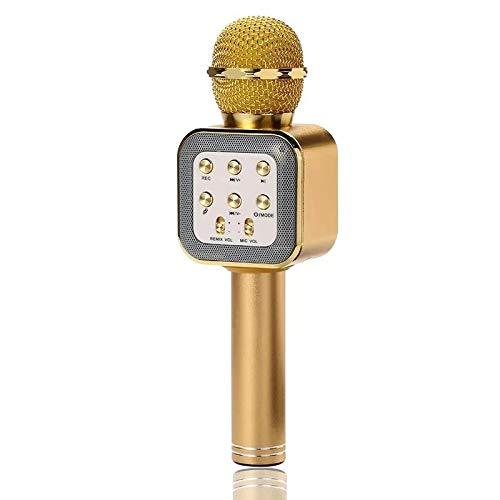 Micrófono Bluetooth Karaoke, micrófono inalámbrico portátil Karaoke con luces LED y altavoz para niños Sing Music Match, compatible con PC Android/iOS, AUX o teléfono inteligente (Gold)