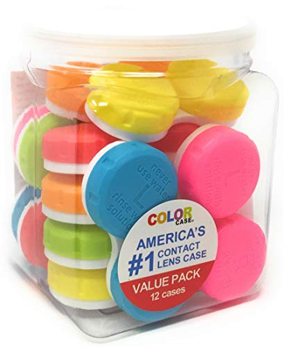 Contact Lens Case, Color Case, Value Pack (Pack of 12)