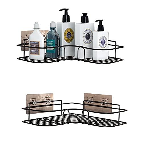 PNNP Duschregal Eckregal, Badezimmer Regal, Duschablage Ohne Bohren Rostfrei Eckregal Metall, Duschwanne Aufkleber für die Bad, Küchenablage, Badezimmer-Zusatz-anhaftender, Schwarz 2 Stück